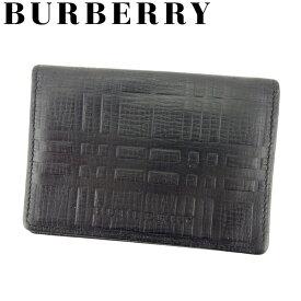 【中古】 バーバリー BURBERRY カードケース パスケース 名刺入れ メンズ チェック ブラック レザー 人気 良品 D1890