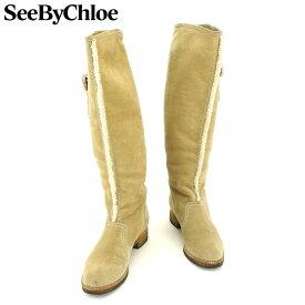【中古】 シーバイ クロエ SEE BY CHLOE ブーツ シューズ 靴 レディース ♯36 ロング ニーハイ ムートン ベージュ ブラウン スエード 人気 セール F1342