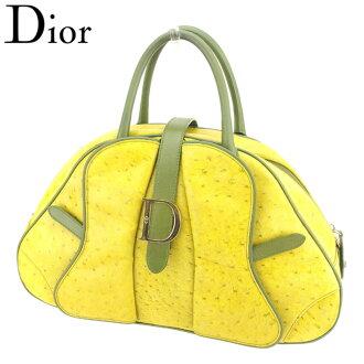 Dior Dior手提包小寬底旅行皮包女士人D標記黄綠色黄金駝鳥×皮革人氣促銷T8004。