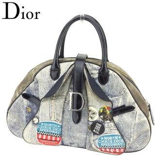 Dior Dior手提包寬底旅行皮包女士雙自行車座粗斜紋布錯覺畫藍色深藍果嶺系的帆布×珐琅皮革瑕疵促銷T8074。