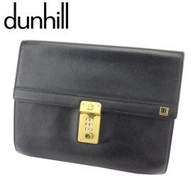 【中古】 ダンヒル クラッチバッグ セカンドバッグ コンフィデンシャル レザー ブラック ゴールド dunhill T8080