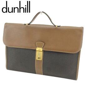 【中古】 ダンヒル ビジネスバッグ ブリーフケース ヘリンボーン PVC×レザー ブラック ブラウン ゴールド dunhill T8110