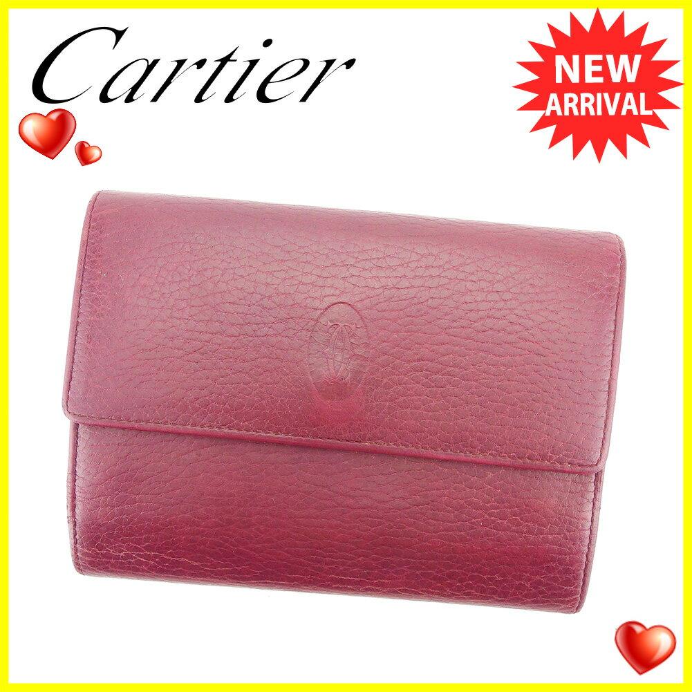 【中古】 【送料無料】 カルティエ 三つ折り 財布 がま口 財布 ボルドー T5918s