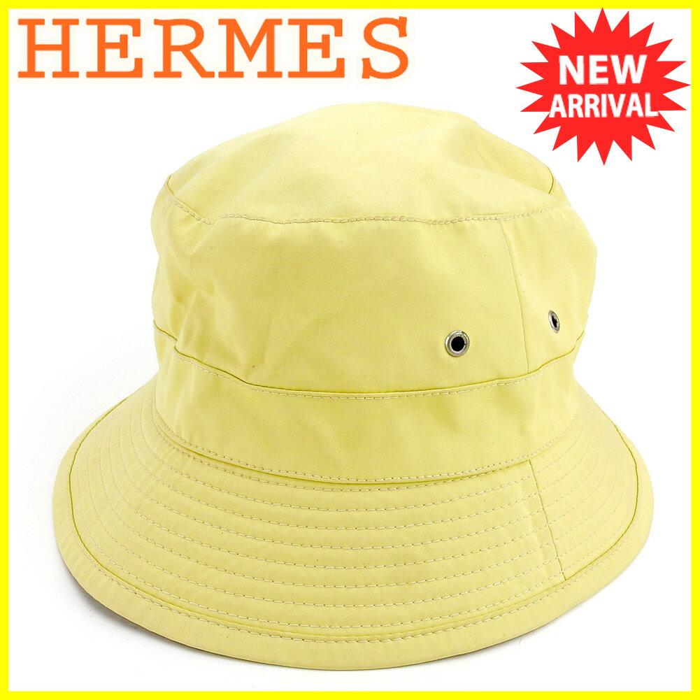 【中古】 【送料無料】 エルメス HERMES 帽子 ♯61サイズ レディース メンズ 可 MOTSCH モッチ社製 ハット イエロー シルバー コットン100% 人気 T5551 .