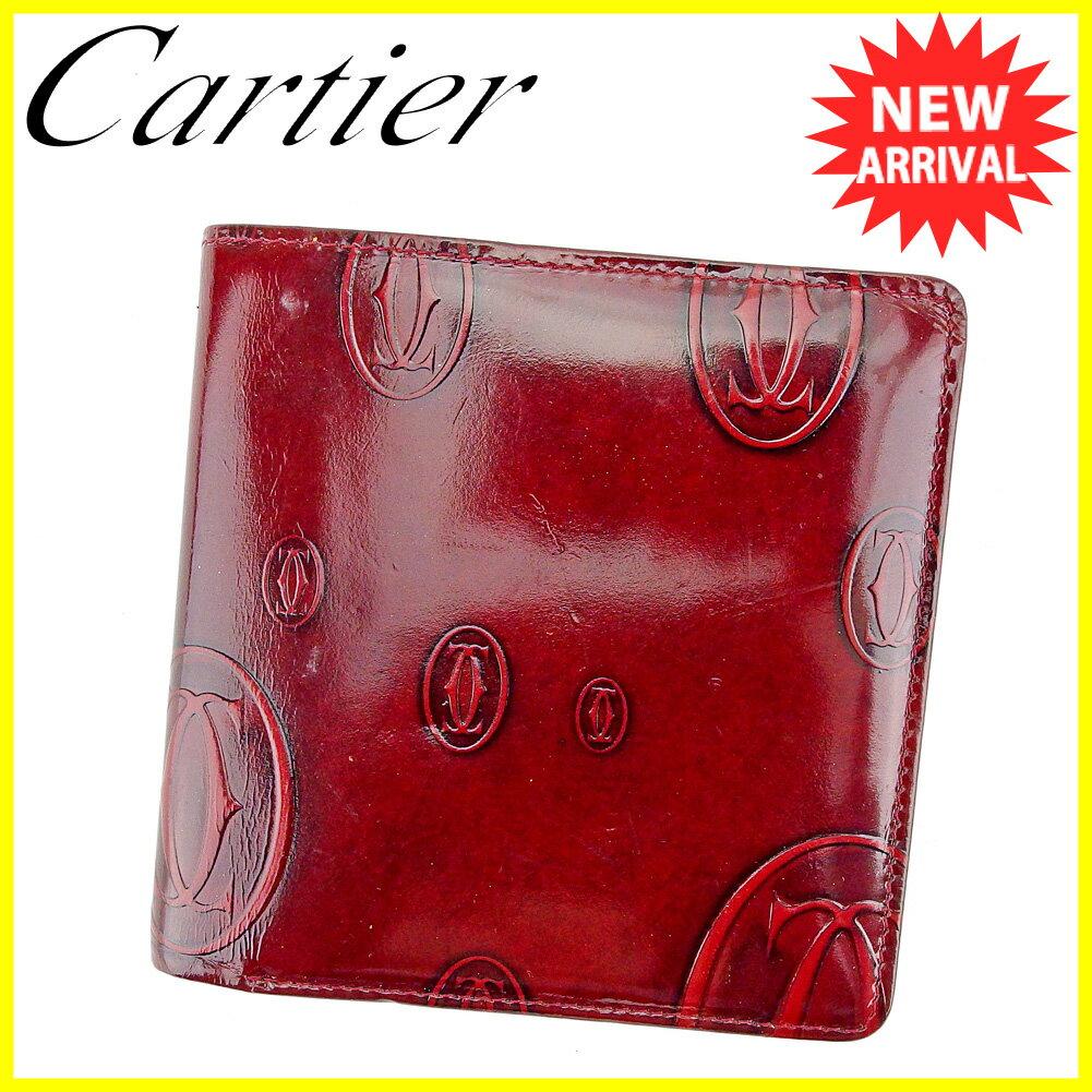 【送料無料】 カルティエ 二つ折り 財布 ボルドー 【中古】 T5622s