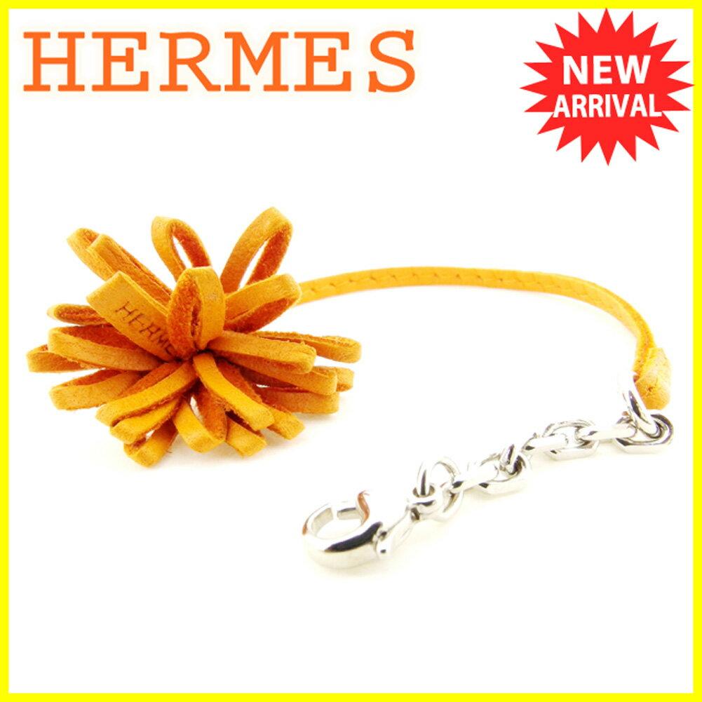 エルメス HERMES キーホルダー ストラップ レディース メンズ 可 フリンジ オレンジ レザー 人気 良品 【中古】 T5958