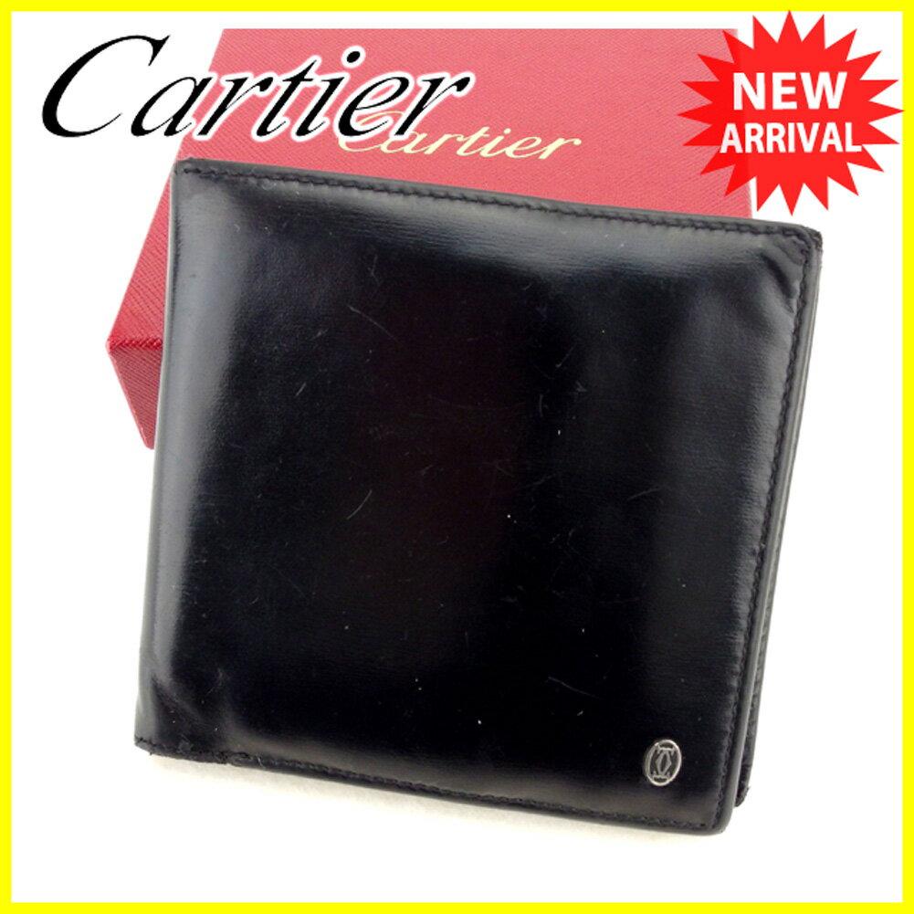 【中古】 【送料無料】 カルティエ 二つ折り 財布 ブラック T5968s .