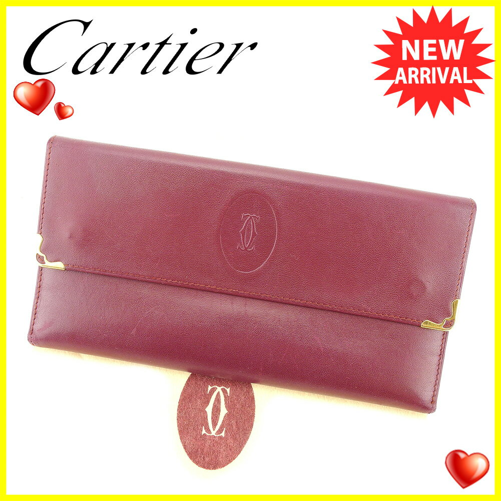 【中古】 【送料無料】 カルティエ 長財布 財布 がま口 ボルドー ゴールド T5889s
