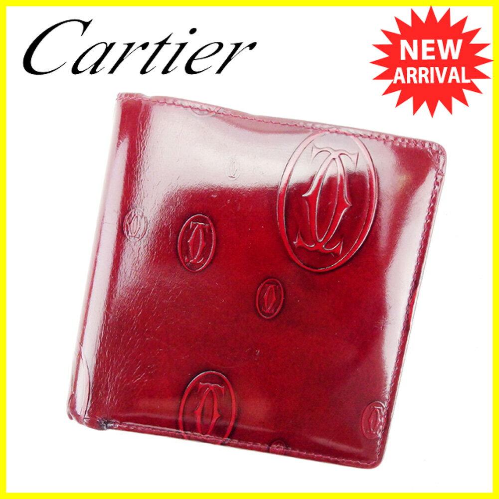 【送料無料】 カルティエ 二つ折り 財布 ボルドー 【中古】 T6019s