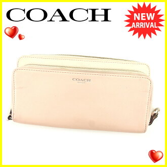 Coach long wallet wallet round fastener pink silver system T6125s.