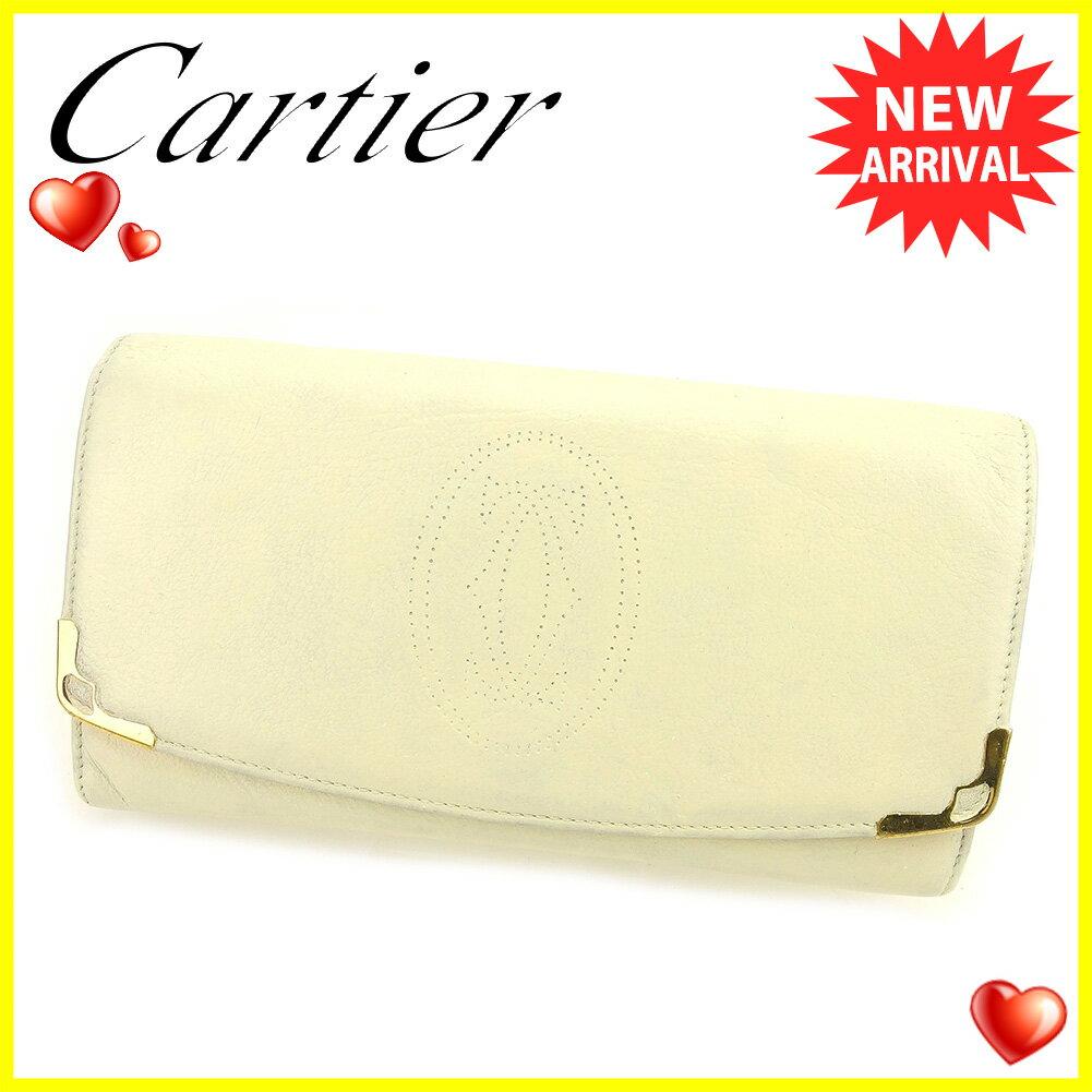 【送料無料】 カルティエ 長財布 財布 ファスナー付き ホワイト 白 ゴールド 【中古】 T6126s