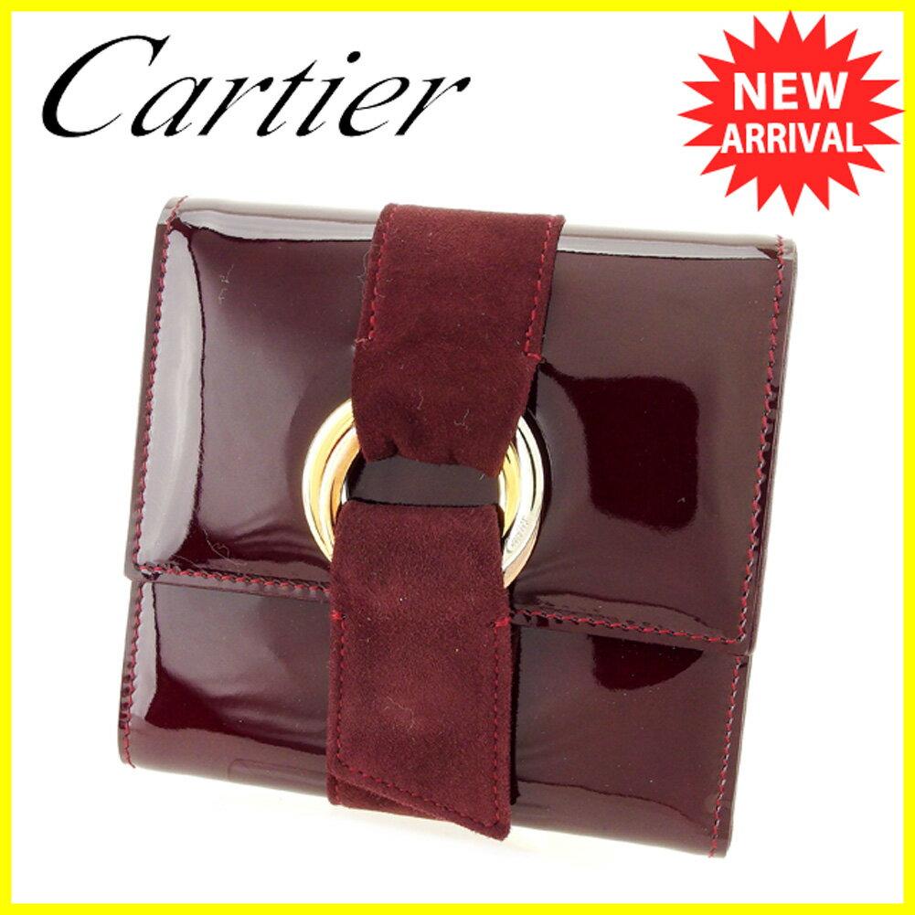【送料無料】 カルティエ 三つ折り 財布 二つ折り 財布 ボルドー 【中古】 T6170s