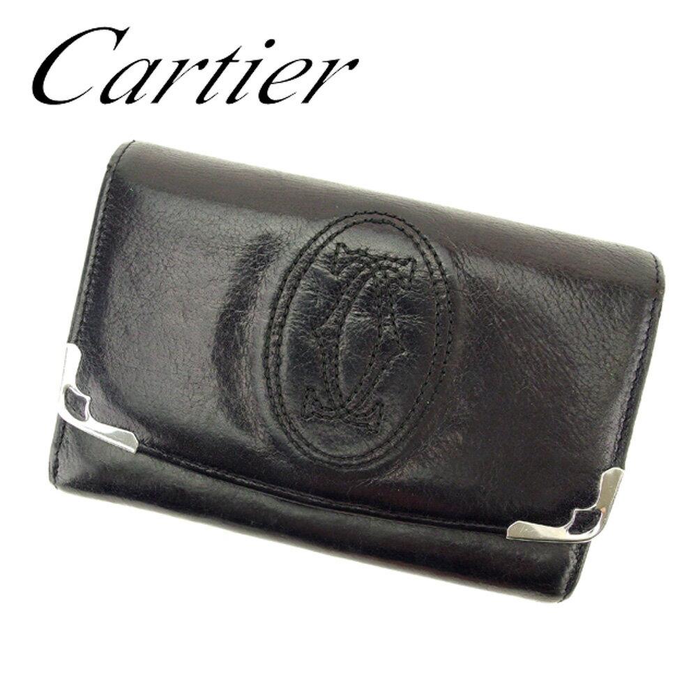 【送料無料】 カルティエ L字ファスナー 財布 二つ折り ブラック シルバー 【中古】 T6404s