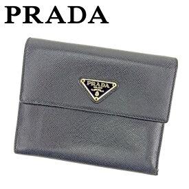 ab1bbcdfca24 【中古】 プラダ Prada 三つ折り 財布 財布 二つ折り 財布 財布 ブラック レディース メンズ