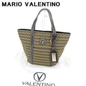 【中古】 マリオ ヴァレンティノ MARIO VALENTINO トートバッグ ハンドバッグ メンズ可 ブラック ベージュ キャンバス×レザートートバッグ T6636s