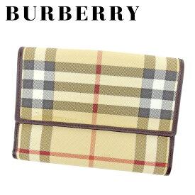 【中古】 【送料無料】 バーバリー BURBERRY Wホック 財布 二つ折り 財布 レディース メンズ 可 ノバチェック ベージュ ブラウン PVC×レザー 人気 セール T6639