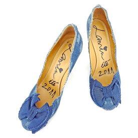 45258015d08fd9 中古 【中古】 【送料無料】 ランバン LANVIN パンプス 靴 シューズ レディース #39 リボンモチーフ ブルー デニム 人気 セール  T6650