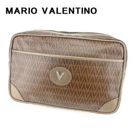 【中古】 マリオ ヴァレンティノ MARIO VALENTINO クラッチバッグ セカンドバッグ レディース メンズ 可 Vモチーフ ブラウン PVC×レザークラッチバッグ T6684s