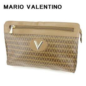 【中古】 マリオ ヴァレンティノ MARIO VALENTINO クラッチバッグ セカンドバッグ レディース メンズ 可 Vモチーフ ブラウン PVC×レザークラッチバッグ T6685s