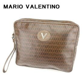 【中古】 マリオ ヴァレンティノ MARIO VALENTINO クラッチバッグ セカンドバッグ レディース メンズ 可 Vモチーフ ブラウン PVC×レザークラッチバッグ T6686s