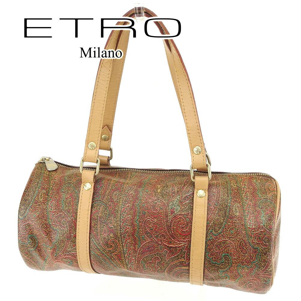 【中古】 【送料無料】 エトロ ETRO ハンドバッグ ミニボストンバッグ レディース ペイズリー ブラウン PVC×レザー 人気 セール T6703