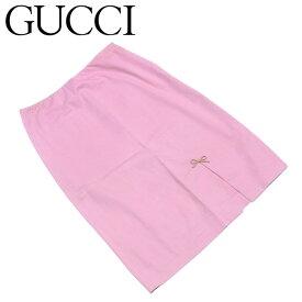 【中古】 グッチ スカート 前スリット入り ミニリボン コットン綿98%ポリウレタン2% ピンク ベージュ GUCCI T5578