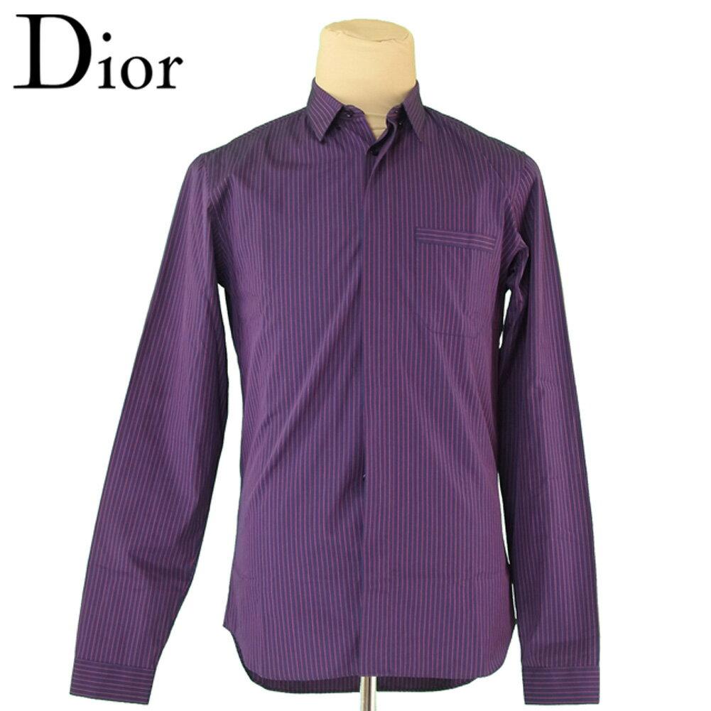 【中古】 ディオール オム Dior Homme シャツ 比翼仕立て 長袖 メンズ ♯39サイズ ストライプ ネイビー レッド コットン100% 美品 セール T5667