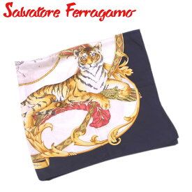 【中古】 サルヴァトーレ フェラガモ Salvatore Ferragamo スカーフ 大判サイズ レディース メンズ 可 ベージュ ブラック イエロー系 シルク100% T6242