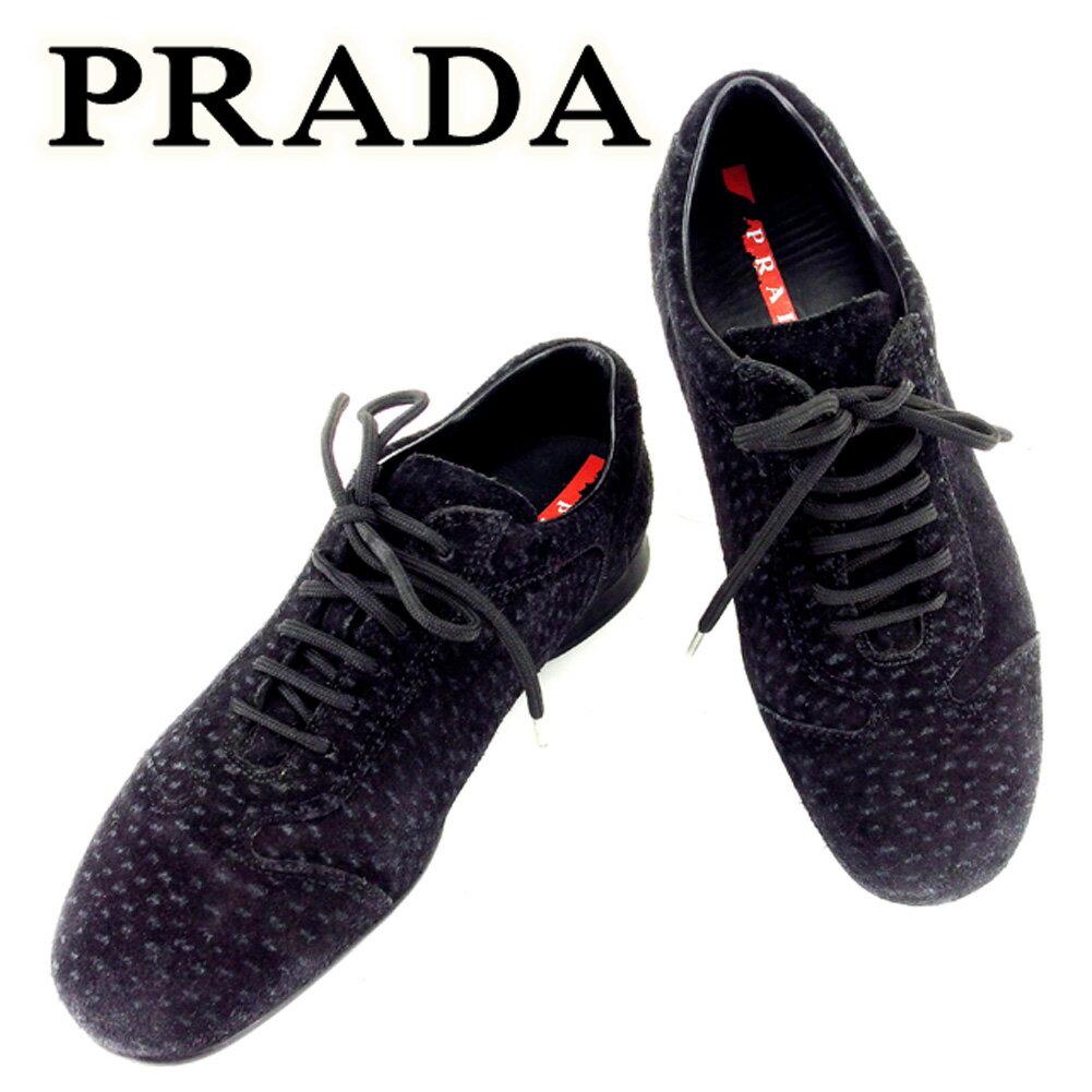 【中古】 プラダ PRADA スニーカー 靴 シューズ レディース ブラック スエードスニーカー T6731s .