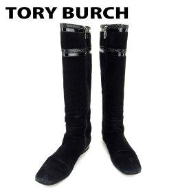 【中古】 トリバーチ Tory Burch ブーツ 靴 シューズ メンズ可 #7ハーフ ブラック スエード×エナメル 人気 セール T6744