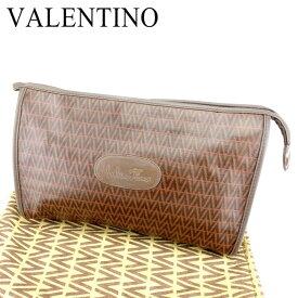 【中古】 マリオ ヴァレンティノ MARIO VALENTINO クラッチバッグ セカンドバッグ レディース メンズ 可 Vモチーフ ブラウン PVC×レザークラッチバッグ T6763s
