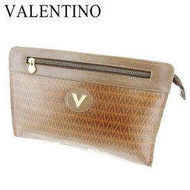【中古】 マリオ ヴァレンティノ MARIO VALENTINO クラッチバッグ セカンドバッグ レディース メンズ 可 Vマーク ブラウン PVC×レザークラッチバッグ T6765s