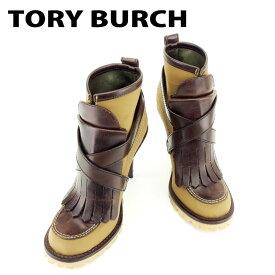 【中古】 トリーバーチ Tory Burch ブーツ シューズ 靴 レディース #7サイズ ブラウン ナイロン×レザー 人気 良品 T6862