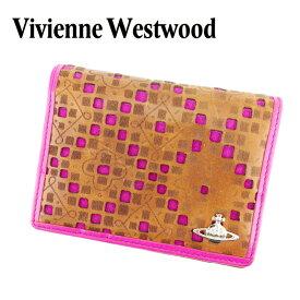 【中古】 ヴィヴィアン ウエストウッド Vivienne Westwood 定期入れ パスケース レディース オーブ ブラウン ピンク レザー 人気 セール T6915