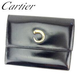 1d48f2d0aa72 【中古】 カルティエ Cartier 三つ折り 財布 財布 ブラック ゴールド パンテール レディース メンズ 可 T7003s
