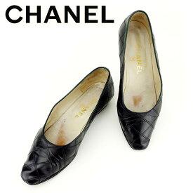 84666e96e702 中古 【中古】 シャネル Chanel パンプス シューズ 靴 ブラック ♯36 マトラッセ ダブルステッチ メンズ可 T7010s . .