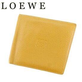 e900f2f08bc3 中古 【スーパーSALE】 【20%OFF】 【中古】 ロエベ LOEWE 二つ折り 財布 メンズ アナグラム ベージュ ブラウン レザー 人気 セール  T7144 .