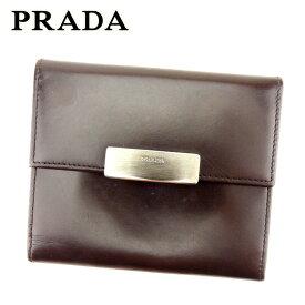 40f4586ab5f5 【中古】 プラダ PRADA コインケース カードケース レディース メンズ 可 ロゴプレート ブラウン レザー