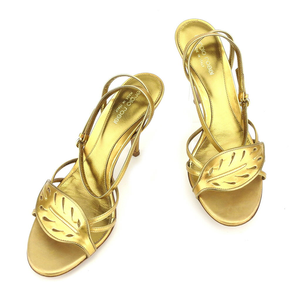【中古】 セルジオロッシ Sergio Rossi サンダル シューズ 靴 メンズ可 #38 ゴールド レザー 人気 セール T7311 .