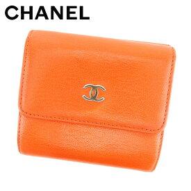 509d90203099 【中古】 シャネル Chanel Wホック財布 財布 コンパクトサイズ オレンジ ココマーク レディース T7623s