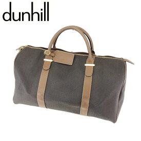 【中古】 ダンヒル dunhill ボストンバッグ 旅行用バッグ レディース メンズ 可 グレー 灰色 ベージュ キャンバス×レザーボストンバッグ T7630s