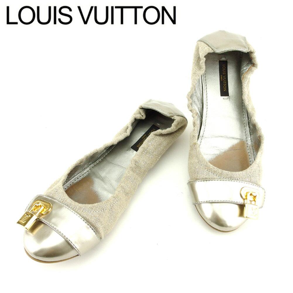 【楽天スーパーSALE】 【20%OFF】 【中古】 ルイ ヴィトン Louis Vuitton パンプス シューズ 靴 レディース #36ハーフ パドロック シルバー ベージュ キャンバス×レザー 人気 セール T7632