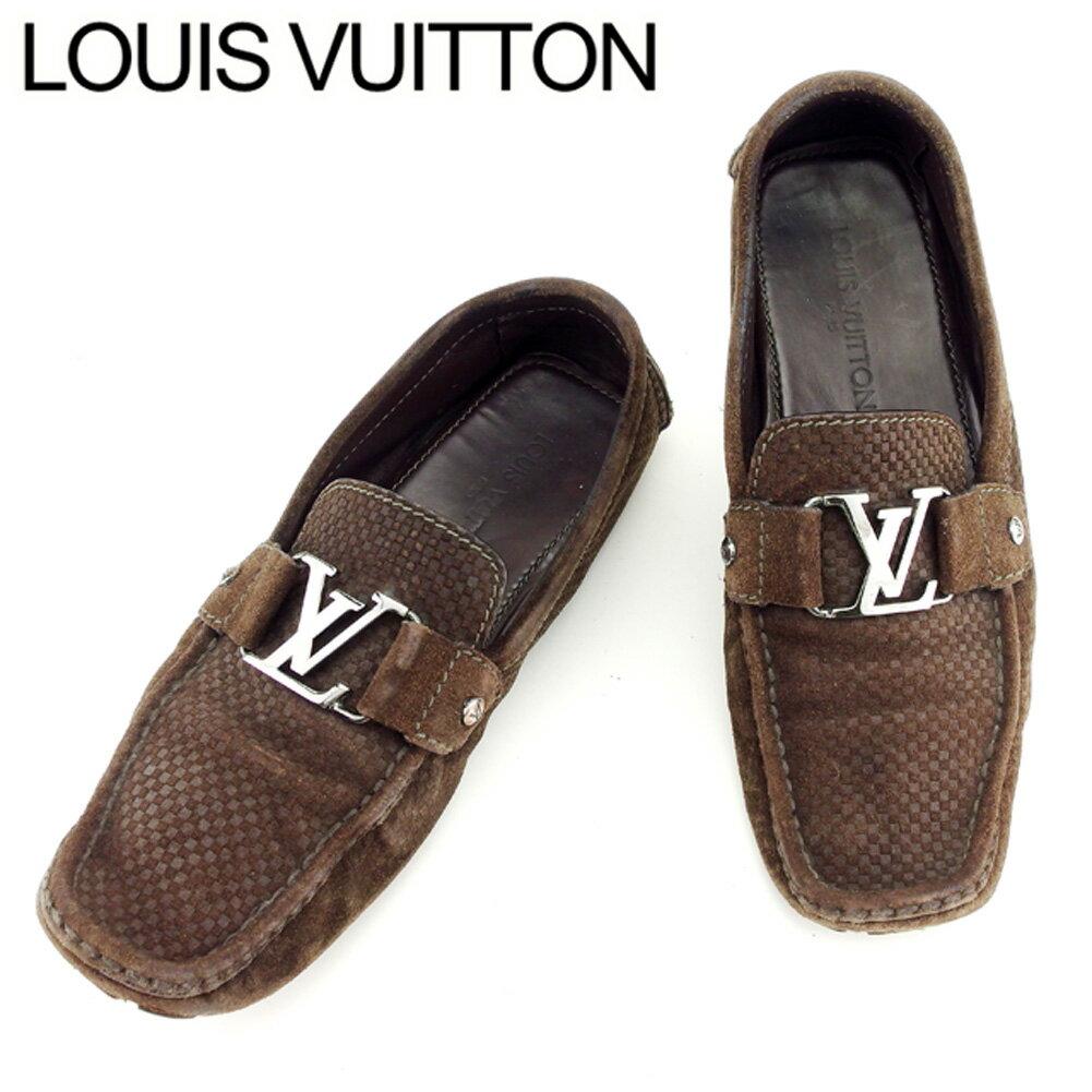 【中古】 ルイ ヴィトン Louis Vuitton ローファー シューズ 靴 メンズ ダミエ ブラウン シルバー スエードローファー H577s .