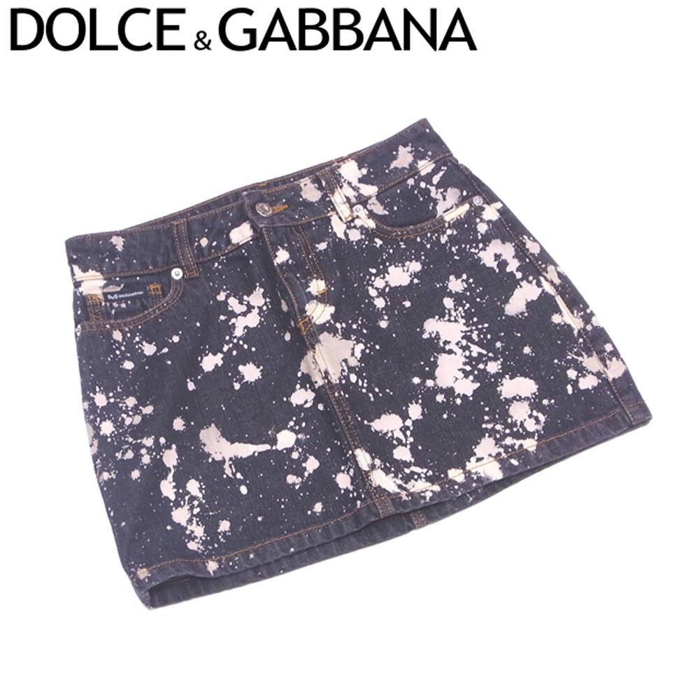 【中古】 ドルチェ&ガッバーナ DOLCE&GABBANA スカート ペインティング風 ミニ レディース デニム ブラック ベージュ スカート T6677s .