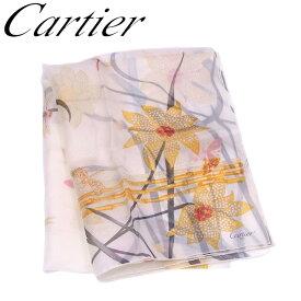カルティエ Cartier ストール スカーフ レディース プリント ベージュ イエロー ブラック系 シルク100% 訳あり 未使用品 【未使用】 T6708