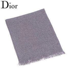 【中古】 ディオール Dior マフラー ストール レディース メンズ 可 フリンジ付き グレー 灰色 カシミア100%マフラー T6981s