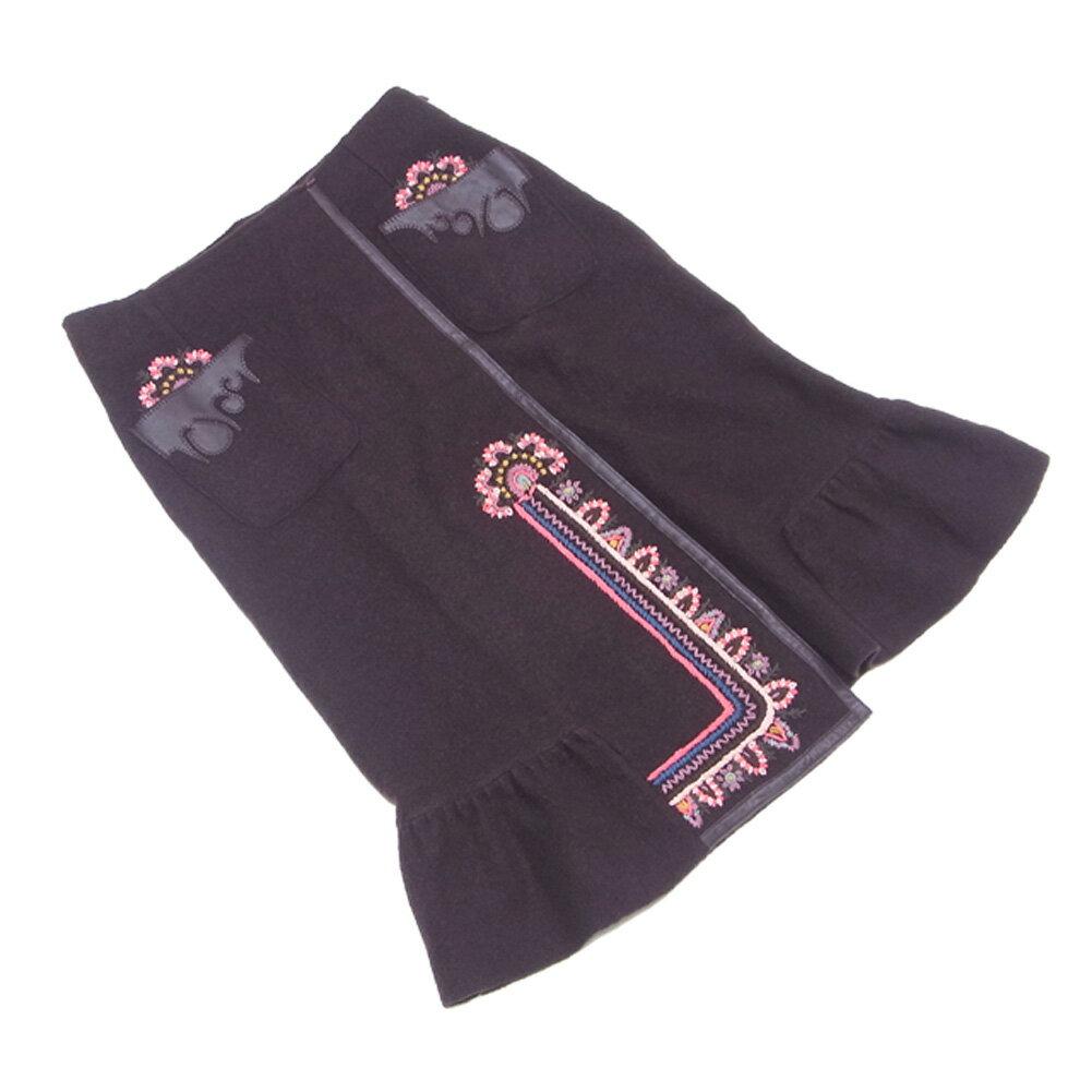 ケンゾー KENZO スカート マーメイド レディース ♯Mサイズ フラワー刺繍 ブラウン ピンク系 ウール毛100%(別布部分)ムートン 良品 セール 【中古】 T7350 .