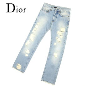 ディオール オム Dior Homme ジーンズ ストレート パンツ レディース メンズ 可 ♯26サイズ クラッシュ ダメージデニム ブルー コットン100% 人気 セール 【中古】 B950