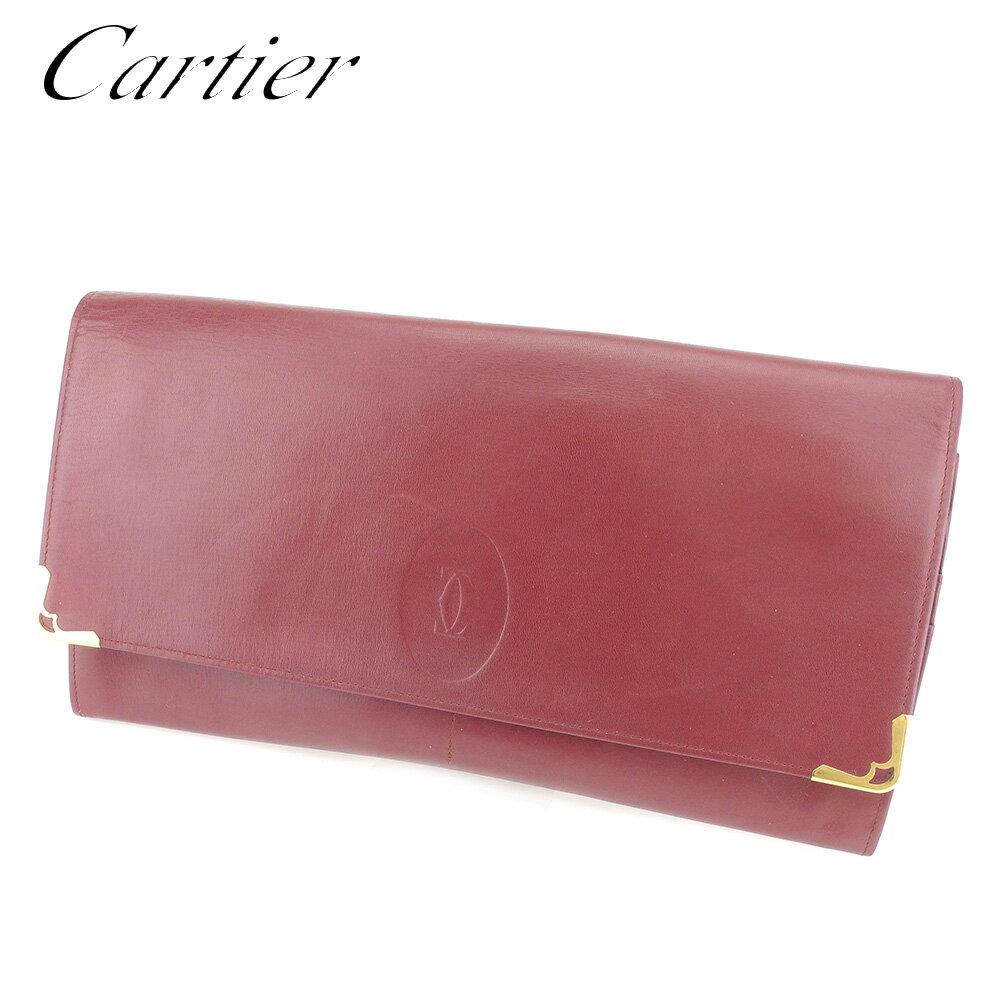 【中古】 カルティエ Cartier クラッチバッグ セカンドバッグ レディース メンズ 可 マストライン ボルドー レザークラッチバッグ C3165s .
