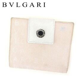171f29da3e49 【中古】 ブルガリ Bvlgari Wホック 財布 財布 二つ折り 財布 財布 ホワイト 白 ピンク